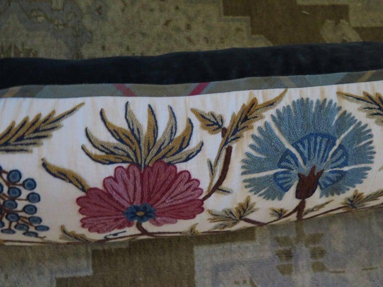 Long Lumbar Crewel Pillow For Sale 4