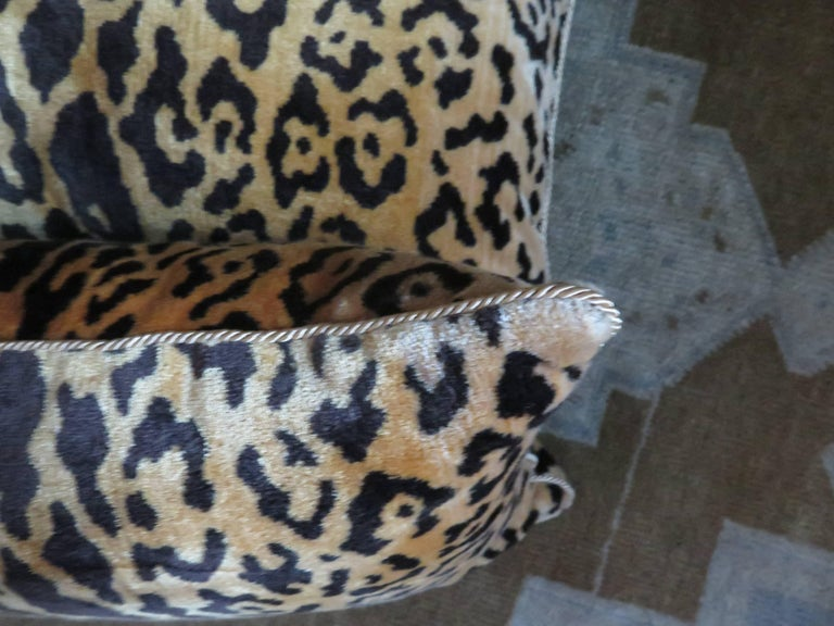 Contemporary Scalamandré Leopard Silk Velvet Pillows For Sale