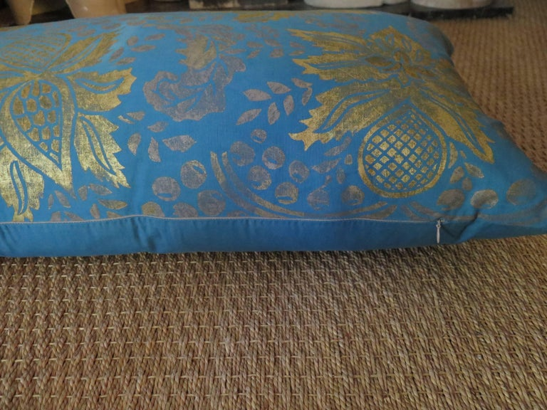 Italian Venetian Turquoise Blue and Gold Linen Pillow For Sale