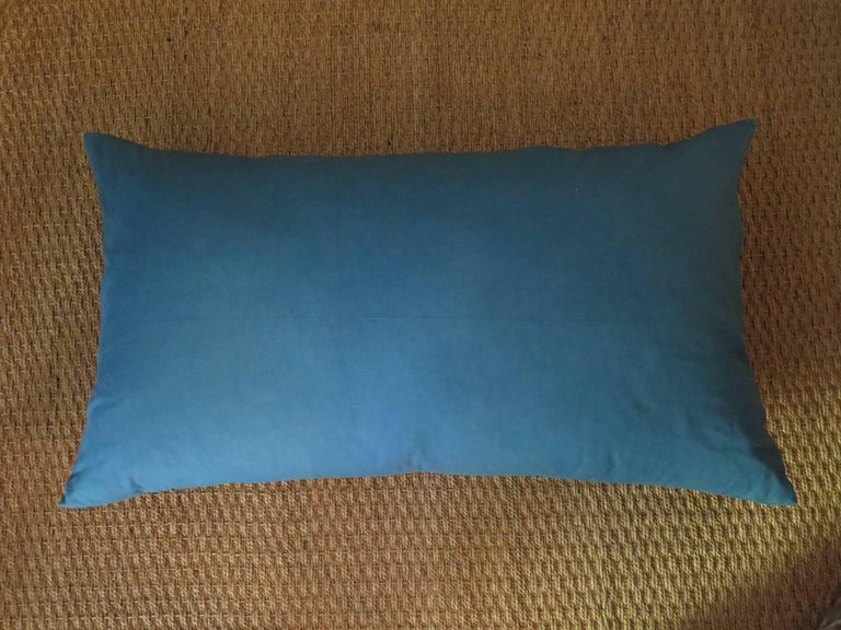 Venetian Turquoise Blue and Gold Linen Pillow In Excellent Condition For Sale In Houston, TX