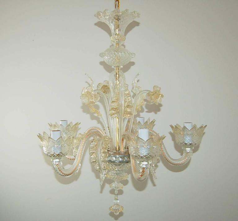 Murano Tulip Chandelier: Chandelier Murano Clear Glass With Gold For Sale At 1stdibs