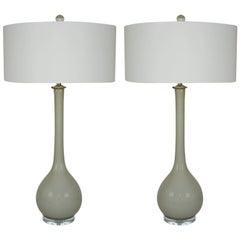 Gray Murano Vintage Long Neck Lamps Seguso