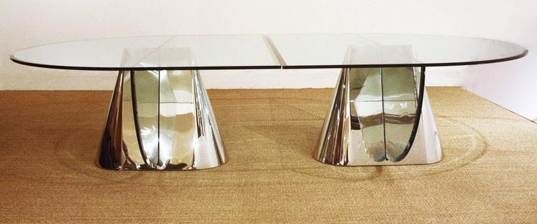 Two Brueton Pinnacle Table Bases Designed by Jay Wade Beam with Custom Glass Dem 2