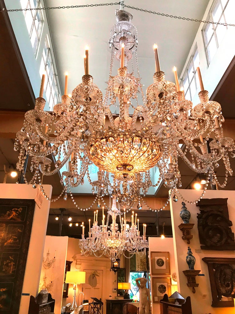 Pair of Majestic 24-Light Cut Crystal Chandeliers For Sale 9
