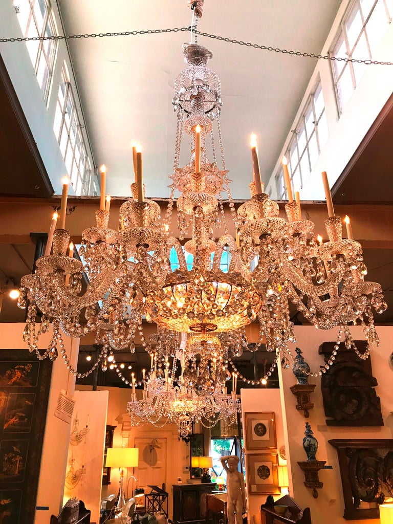 Pair of Majestic 24-Light Cut Crystal Chandeliers For Sale 10