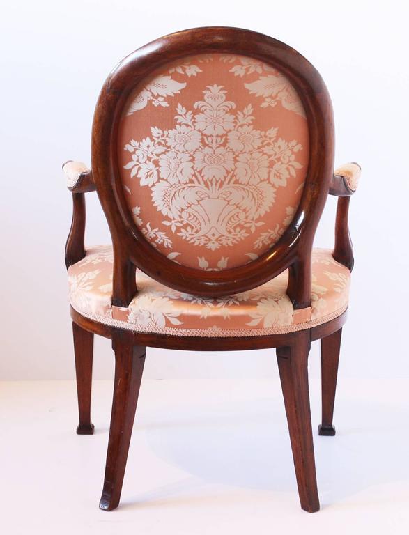 English George III Mahogany Open Armchair For Sale