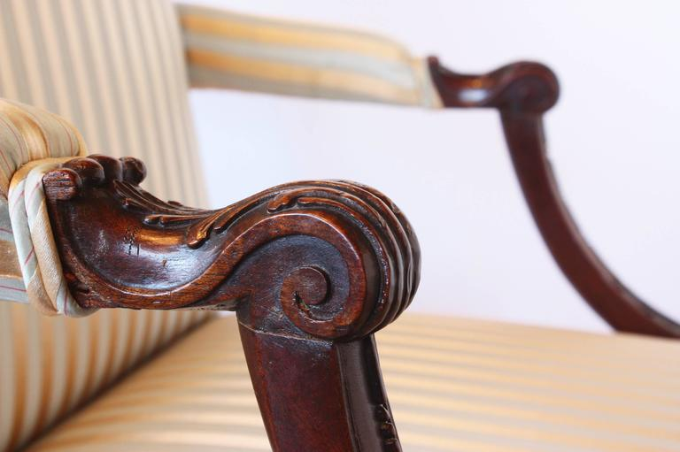 English George II Mahogany Library Armchair For Sale