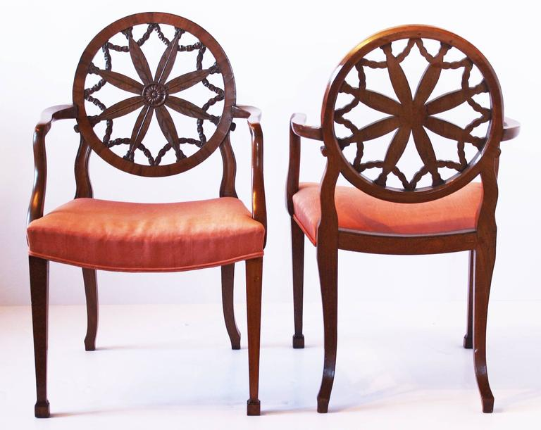Pair of George III Mahogany Elbow Chairs in the Manner of Robert Adam In Good Condition For Sale In Dallas, TX