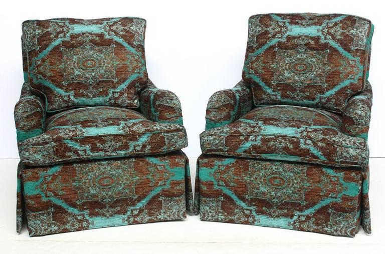 Pair of English Saddle Arm Club Chairs 2