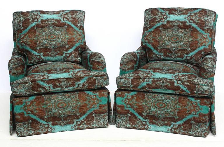 Pair of English Saddle Arm Club Chairs 2