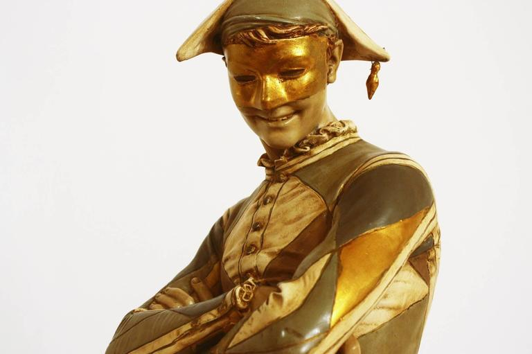 A vintage monumental painted plaster harlequin / jester/ joker lamp with new barrel shade by Marbro, circa 1968, from the original 1879 bronze sculpture by French sculptor Rene´ de Saint-Marceaux (1845-1915)  Measure: base is 13