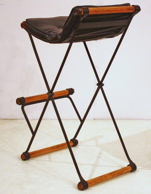 Mid-Century Modern Campaign / X-Bar Stools by Cleo Baldon for Terra Furniture For Sale