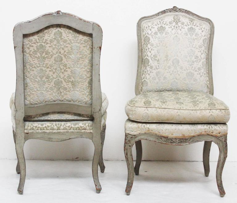 French Pair of Period Louis XV Slipper Chairs with Cut Velvet Damask For Sale