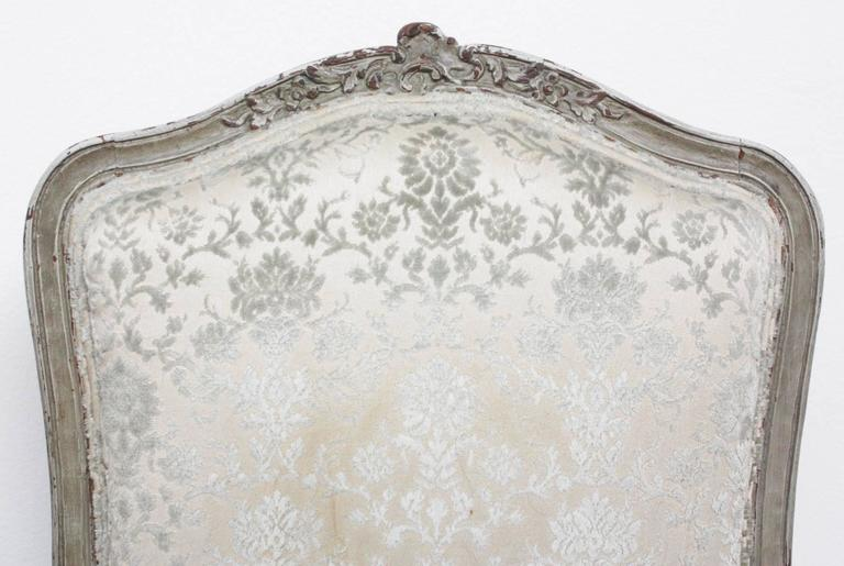 Pair of Period Louis XV Slipper Chairs with Cut Velvet Damask 4