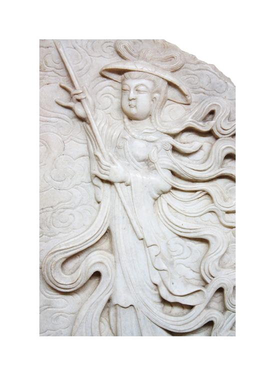 Carved Japanese Marble Wall Carving / Fragment For Sale
