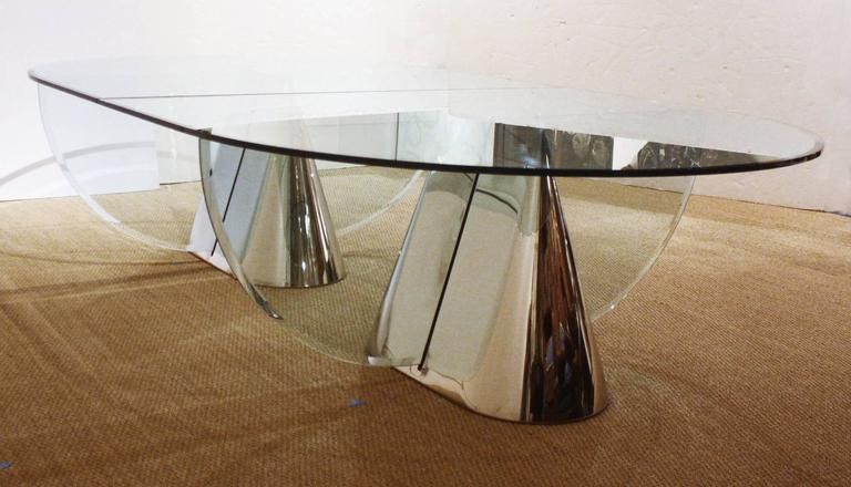 Two Brueton Pinnacle Table Bases Designed by Jay Wade Beam with Custom Glass Dem 3