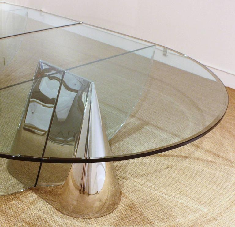 Two Brueton Pinnacle Table Bases Designed by Jay Wade Beam with Custom Glass Dem 4
