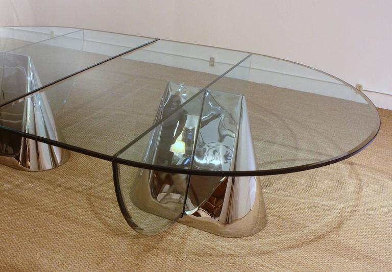 Two Brueton Pinnacle Table Bases Designed by Jay Wade Beam with Custom Glass Dem 5