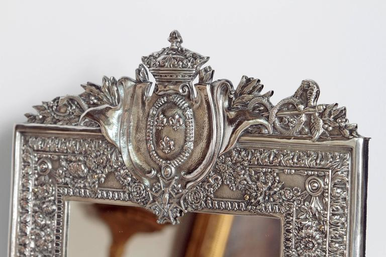Silver-plated copper picture frame (as table mirror) very similar to frame at Mount Vernon (gift of French king Louis XVI to President George Washington) a