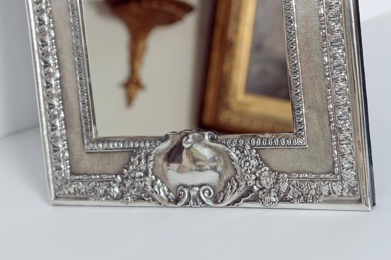 Louis XVI Style Silver Plated Table Mirror / Frame In Good Condition For Sale In Dallas, TX