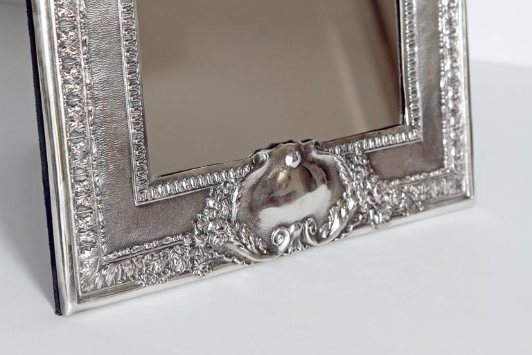 Repoussé Louis XVI Style Silver Plated Table Mirror / Frame For Sale
