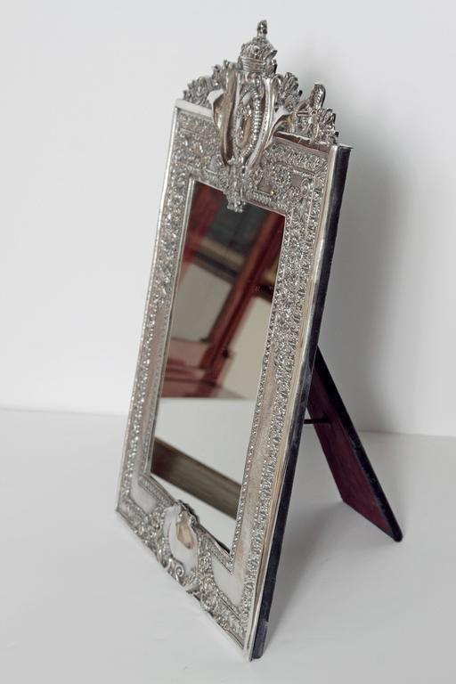20th Century Louis XVI Style Silver Plated Table Mirror / Frame For Sale
