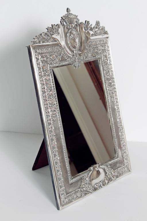 Louis XVI Style Silver Plated Table Mirror / Frame For Sale 1