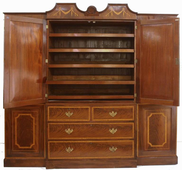 George III Georgian Revival Mahogany Breakfront Gentleman's Wardrobe/Press For Sale