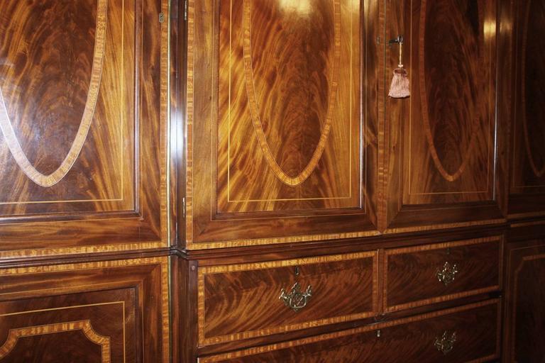 Hand-Crafted Georgian Revival Mahogany Breakfront Gentleman's Wardrobe/Press For Sale