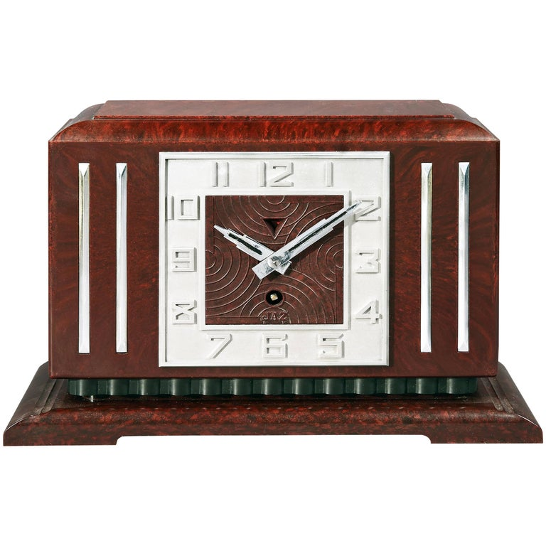 Bakelite Art Deco Mantel Clock by JAZ For Sale