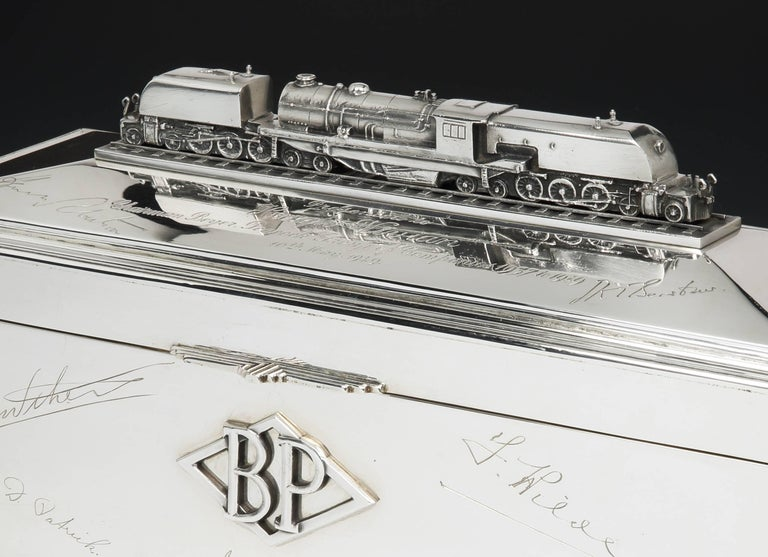 Art Deco Large, Sterling Silver Locomotive Cigar Box, 1949 For Sale