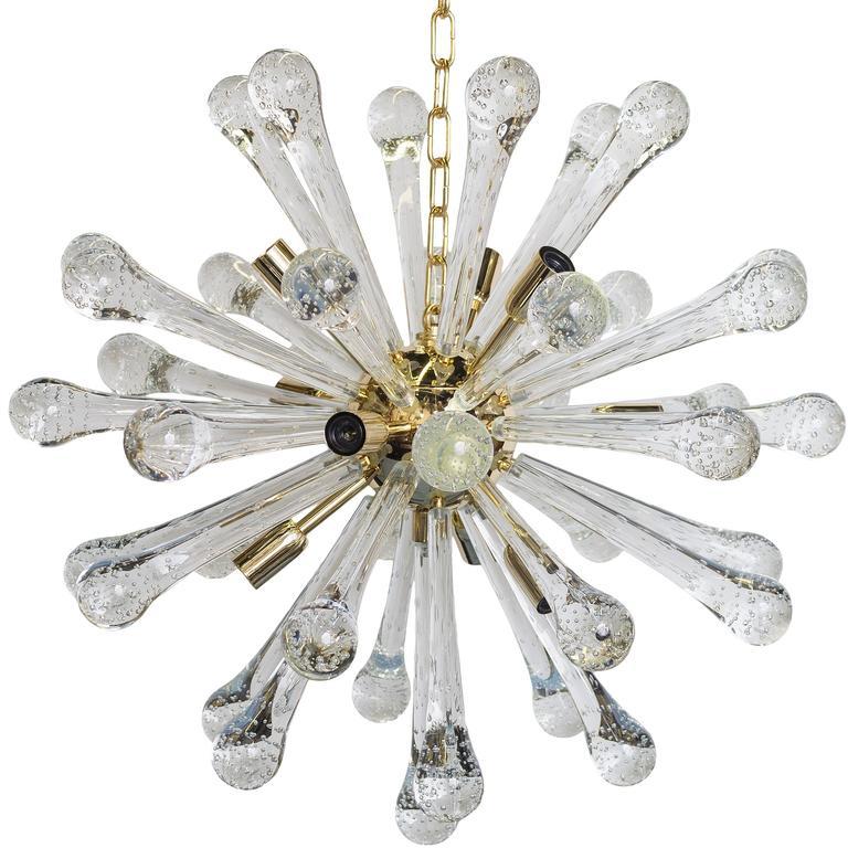 Italian Sputnik Chandelier in Murano Glass and Brass
