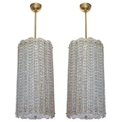 Pair of Murano Glass and Brass Lanterns