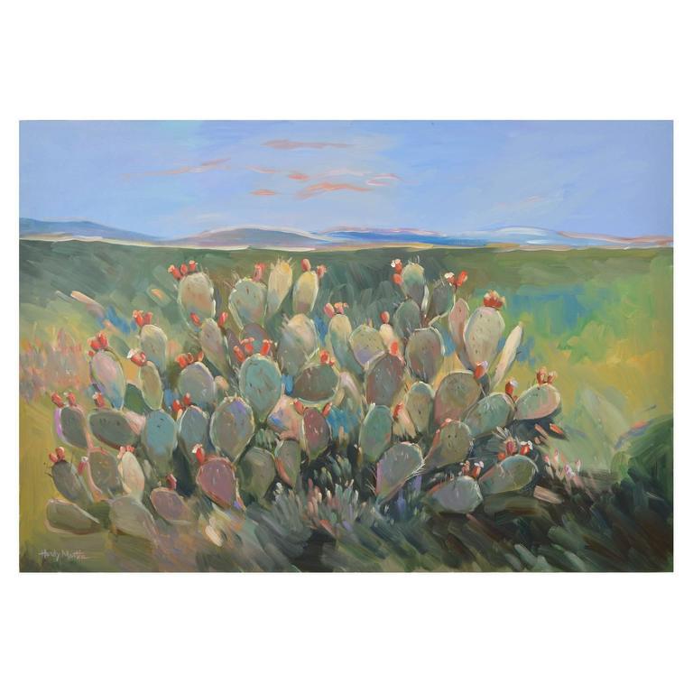 Prickly Pear Cactus Signed Original Painting At 1stdibs