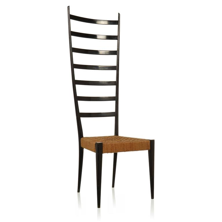 Gio Ponti Style High Ladder Back Chair At 1stdibs