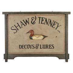 Shaw and Tenney Decoys and Lures Trade Sign