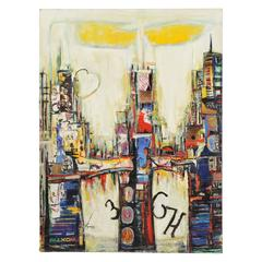 Chicago Cityscape Mixed-Media Collage Signed Original Painting