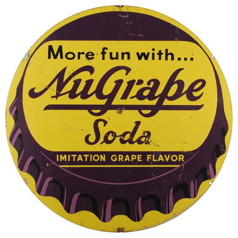 Vintage NuGrape Soda Bottle Cap Metal Sign At 1stdibs