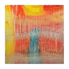 Orange, Yellow and Blue Signed Original Abstract Resin Painting 7489