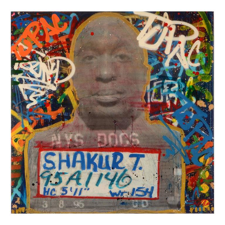 Tupac shakur signed original graffiti art painting at 1stdibs for Baby boy tupac mural