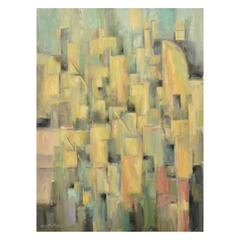 Green Cubist Cityscape Signed Original Painting