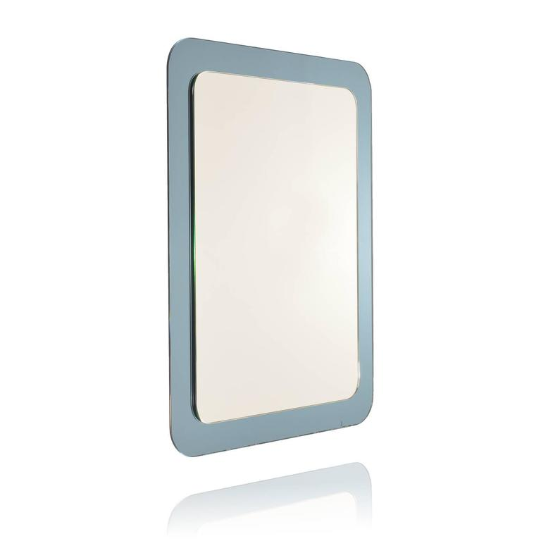Italian Wall Mirror with Blue Mirror Frame in the Style of Fontana ...