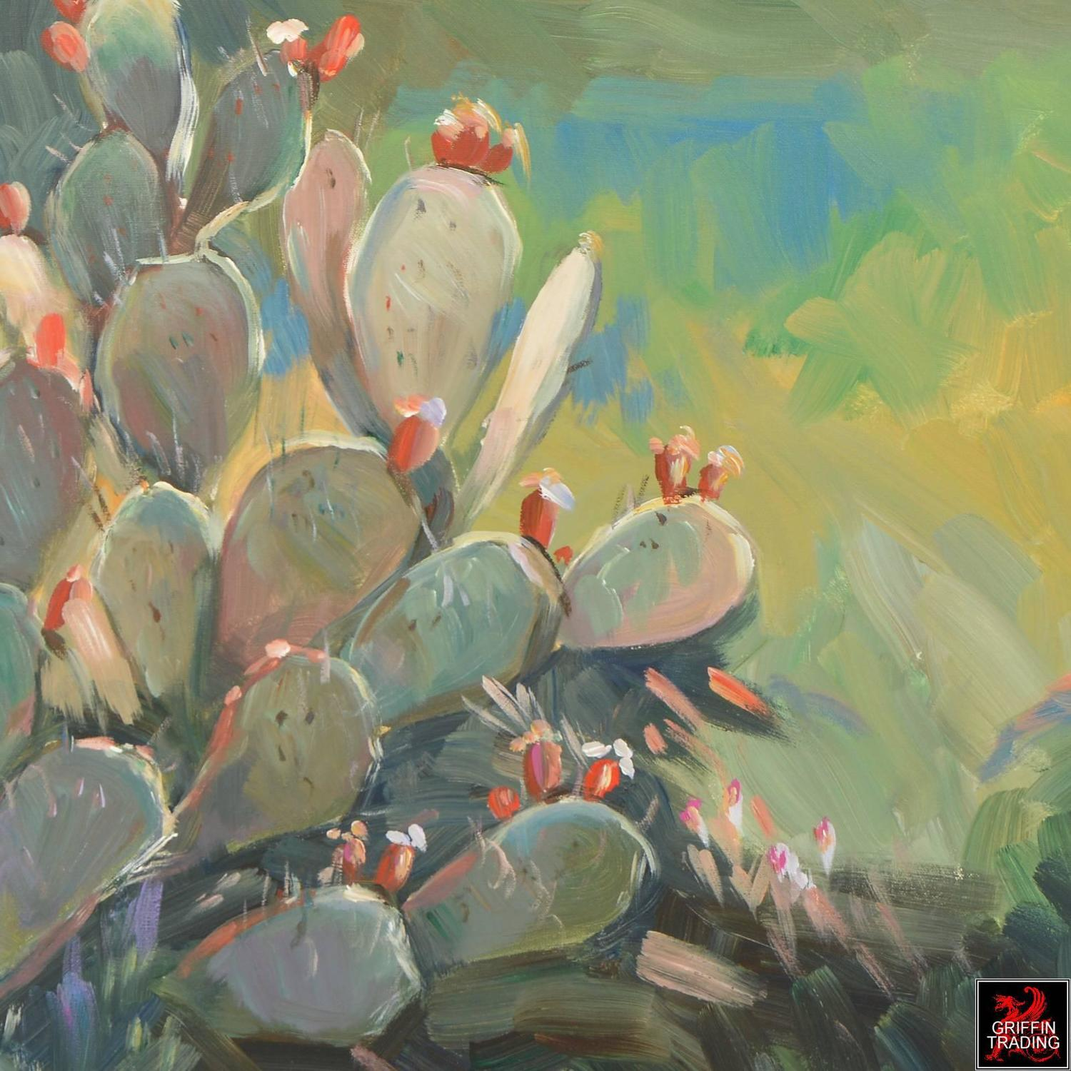 Prickly Pear Cactus Signed Original Painting For Sale At