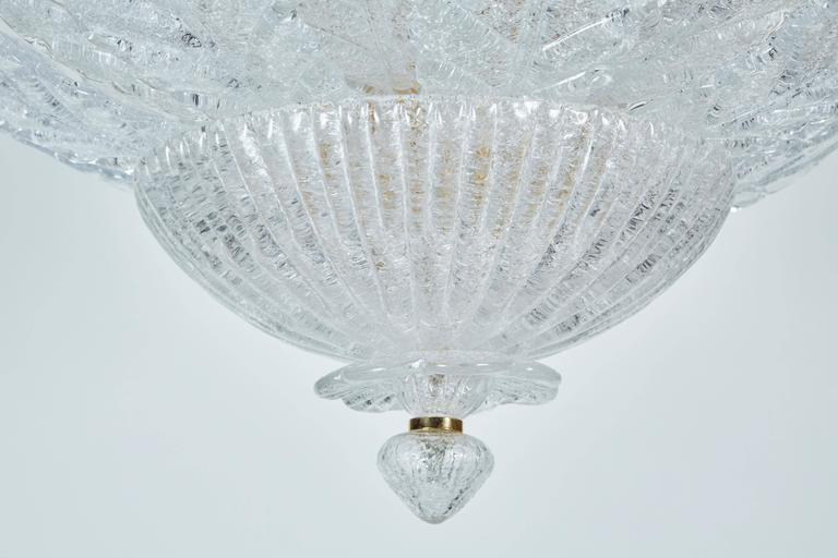 Italian Chandelier with Foliate Design Glass For Sale