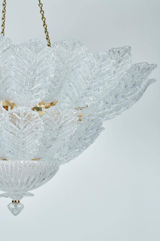 20th Century Chandelier with Foliate Design Glass For Sale