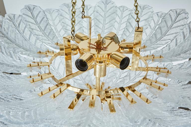 Chandelier with Foliate Design Glass For Sale 3