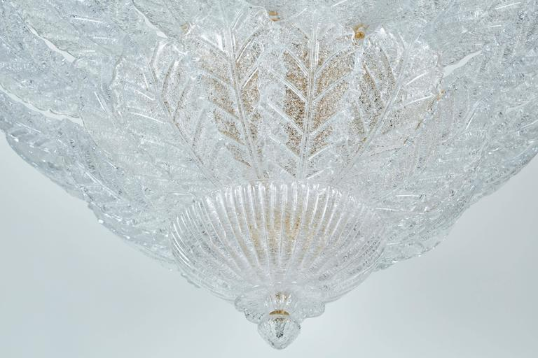 Modern Chandelier with Foliate Design Glass For Sale