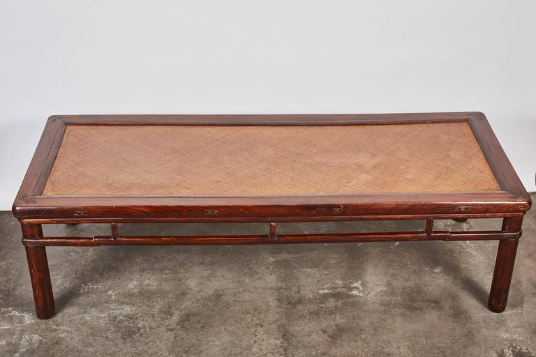 18th Century Chinese Elm Daybed with Rattan Top For Sale 3