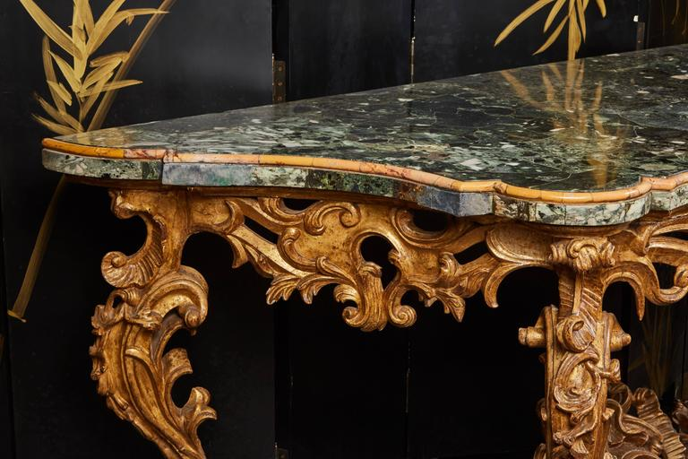 Large Mid-18th Century Italian Rococo Giltwood Green Marble-Top Console In Good Condition For Sale In Pasadena, CA