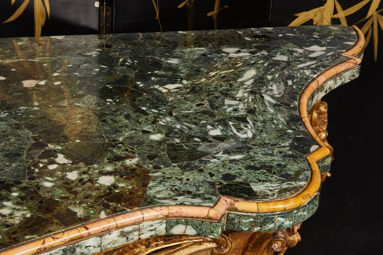 Large Mid-18th Century Italian Rococo Giltwood Green Marble-Top Console For Sale 3